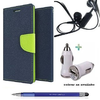 Wallet Flip cover for Micromax Canvas Selfie Lens Q345  (BLUE) With Earphone(3.5mm) & car adapter &  Stylus Touch Pen(Assorted Color)