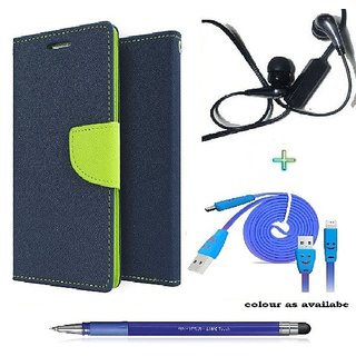 Wallet Flip cover for Samsung Galaxy S4 Mini I9190  (BLUE) With Earphone(3.5mm) & Micro Usb Smiley Cable & Stylus Touch Pen(Assorted Color)