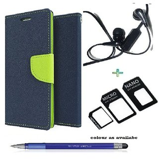 Wallet Flip cover for Samsung Galaxy A3  (BLUE) With Earphone(3.5mm) & nossy Nano Sim Adapter  &  Stylus Touch Pen(Assorted Color)