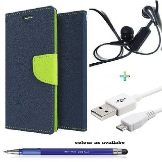 Wallet Flip cover for Micromax Canvas Fire 4 A107  (BLUE) With Earphone(3.5mm) & Micro Usb Cable &  Stylus Touch Pen(Assorted Color)