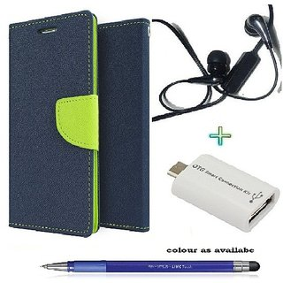 Wallet Flip cover for MOTO X  (BLUE) With Earphone(3.5mm) & Micro Otg Smart  & Stylus Touch Pen(Assorted Color)