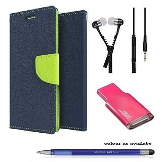 Wallet Flip cover for Micromax Canvas Gold A300  (BLUE) With Zipper Earphone & Memory Card Reader & Stylus Touch Pen(Assorted Color)