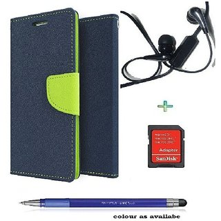 Wallet Flip cover for Letv 1s  (BLUE) With Earphone(3.5mm) & sd card adapter &  Stylus Touch Pen(Assorted Color)