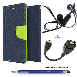 Wallet Flip cover for Micromax Canvas Selfie Lens Q345  (BLUE) With Earphone(3.5mm) & Micro Otg Cable  & Stylus Touch Pen(Assorted Color)