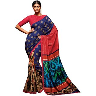 Roop Kashish Multicolor Tussar Silk Printed Saree With Blouse