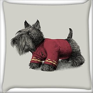 Snoogg Dog With Clothes On 14 X 14 Inch Throw Pillow Case Sham Pattern Zipper Pillowslip Pillowcase For Drawing Room Sofa Couch Chair Back Seat