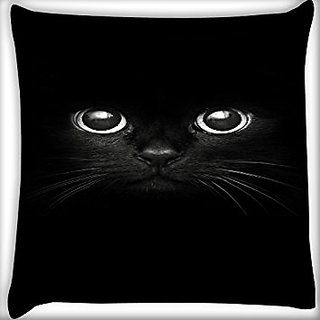 Snoogg Black Cat 20 X 20 Inch Throw Pillow Case Sham Pattern Zipper Pillowslip Pillowcase For Drawing Room Sofa Couch Chair Back Seat