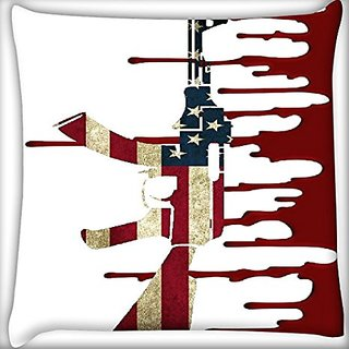 Snoogg Us Ak47 White 18 X 18 Inch Throw Pillow Case Sham Pattern Zipper Pillowslip Pillowcase For Drawing Room Sofa Couch Chair Back Seat