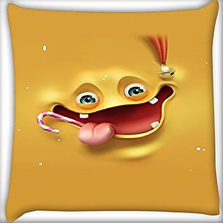 Snoogg Yellow Smile Face 20 X 20 Inch Throw Pillow Case Sham Pattern Zipper Pillowslip Pillowcase For Drawing Room Sofa Couch Chair Back Seat