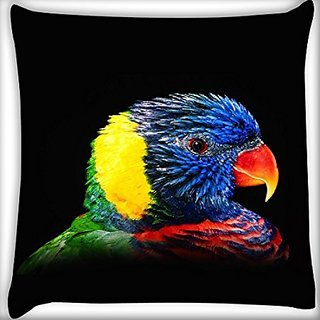Snoogg Colorful Parrot 20 X 20 Inch Throw Pillow Case Sham Pattern Zipper Pillowslip Pillowcase For Drawing Room Sofa Couch Chair Back Seat