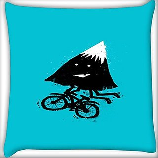 Snoogg Mountain Riding Cycle 22 X 22 Inch Throw Pillow Case Sham Pattern Zipper Pillowslip Pillowcase For Drawing Room Sofa Couch Chair Back Seat