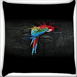 Snoogg Colorful Parrot 12 X 12 Inch Throw Pillow Case Sham Pattern Zipper Pillowslip Pillowcase For Drawing Room Sofa Couch Chair Back Seat