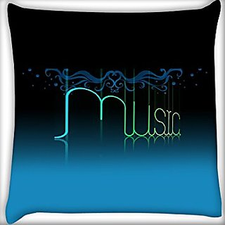 Snoogg Music 24 X 24 Inch Throw Pillow Case Sham Pattern Zipper Pillowslip Pillowcase For Drawing Room Sofa Couch Chair Back Seat