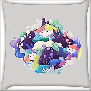 Snoogg Snow Man 18 X 18 Inch Throw Pillow Case Sham Pattern Zipper Pillowslip Pillowcase For Drawing Room Sofa Couch Chair Back Seat