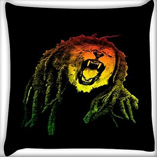 Snoogg Bob Lion 16 X 16 Inch Throw Pillow Case Sham Pattern Zipper Pillowslip Pillowcase For Drawing Room Sofa Couch Chair Back Seat