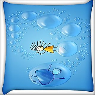 Snoogg Girl And Bubbles 20 X 20 Inch Throw Pillow Case Sham Pattern Zipper Pillowslip Pillowcase For Drawing Room Sofa Couch Chair Back Seat