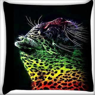 Snoogg Neon Leopard 14 X 14 Inch Throw Pillow Case Sham Pattern Zipper Pillowslip Pillowcase For Drawing Room Sofa Couch Chair Back Seat