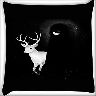 Snoogg White Deer With Black Lady 20 X 20 Inch Throw Pillow Case Sham Pattern Zipper Pillowslip Pillowcase For Drawing Room Sofa Couch Chair Back Seat