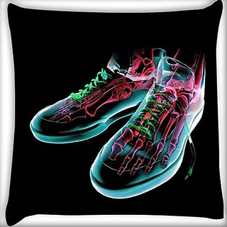 Snoogg Skeleton Shoes 16 X 16 Inch Throw Pillow Case Sham Pattern Zipper Pillowslip Pillowcase For Drawing Room Sofa Couch Chair Back Seat