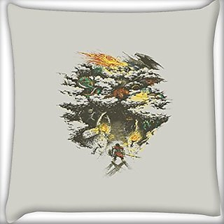Snoogg Samurai Entereing Jungle 16 X 16 Inch Throw Pillow Case Sham Pattern Zipper Pillowslip Pillowcase For Drawing Room Sofa Couch Chair Back Seat