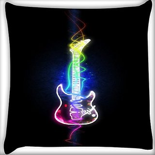 Snoogg Abstract Guitar 18 X 18 Inch Throw Pillow Case Sham Pattern Zipper Pillowslip Pillowcase For Drawing Room Sofa Couch Chair Back Seat
