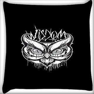 Snoogg Abstract Owl Face 22 X 22 Inch Throw Pillow Case Sham Pattern Zipper Pillowslip Pillowcase For Drawing Room Sofa Couch Chair Back Seat