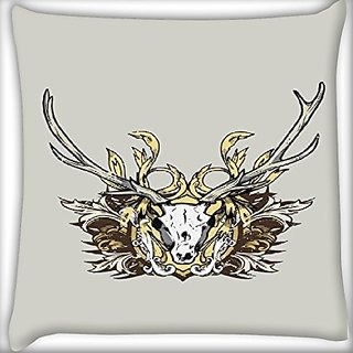 Snoogg Deer Face 24 X 24 Inch Throw Pillow Case Sham Pattern Zipper Pillowslip Pillowcase For Drawing Room Sofa Couch Chair Back Seat