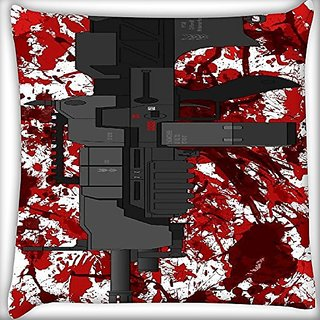 Snoogg Mini Machine Gun White 22 X 22 Inch Throw Pillow Case Sham Pattern Zipper Pillowslip Pillowcase For Drawing Room Sofa Couch Chair Back Seat