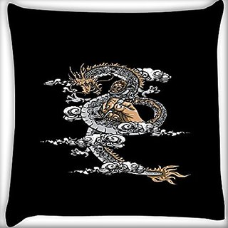 Snoogg Dragon Sketch 22 X 22 Inch Throw Pillow Case Sham Pattern Zipper Pillowslip Pillowcase For Drawing Room Sofa Couch Chair Back Seat