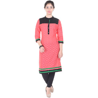 Indiwest Cotton Printed Peach & Black Color Straight Kurti