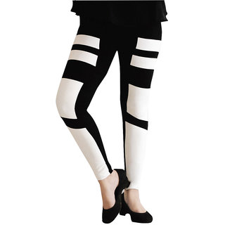 Casa Trendy Fashion Printed Ankle Length Black legging For Women
