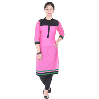 Indiwest Cotton Printed Pink & Black Color Straight Kurti