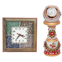 Gomati Ethnic Home Dcor Antique Handcrafted Gemstone Wooden Wall Clock With Ethnic Design Marble Table Clock Handicraft -COMB301