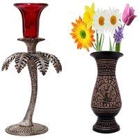 Gomati Ethnic Home Dcor Antique Look Aluminium Tree Design Single Candle Holder With Antique Golden Minakari Work Flower Vase -COMB281