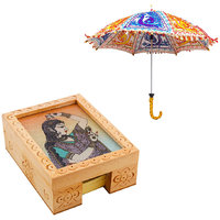 Gomati Ethnic Home Dcor Multicolor Exclusive Ethnic Designer Umbrella With Gemstone Painting Slip Pad Holder Box Handicraft Gift-COMB335