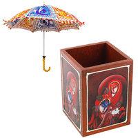 Gomati Ethnic Home Dcor Multicolor Exclusive Ethnic Designer Umbrella With Radha Krishna Painted Wooden Pen Stand Handicraft-COMB342