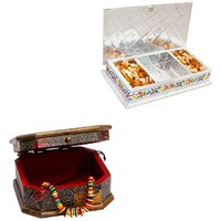 Gomati Ethnic Home Dcor Rajasthani Wooden Jewellry Cosmastic Handicraft Box With Decorative White Metal 3 Partitions Dryfruit Box -COMB203