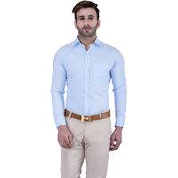 Lee Marc Men's Blue Casual Poly-Cotton Shirt