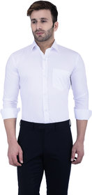 Lee Marc Men's White Casual Poly-Cotton Shirt