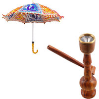 Gomati Ethnic Home Dcor Multicolor Exclusive Ethnic Designer Umbrella With Wooden Brown Real Working Hukka Handicraft-COMB346