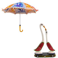 Gomati Ethnic Home Dcor Multicolor Exclusive Ethnic Designer Umbrella With Paper Mache Pair Of Swan Showpiece Handicrafts Gift-COMB361