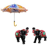 Gomati Ethnic Home Dcor Multicolor Exclusive Ethnic Designer Umbrella With Paper Mache Elephant Pair Showpiece Gifts Handicraft-COMB362