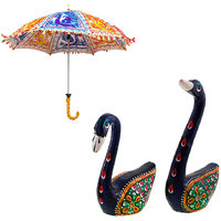 Gomati Ethnic Home Dcor Multicolor Exclusive Ethnic Designer Umbrella With Enamel Work Pure Brass Swans Pair Handicraft Gift -COMB368