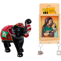 Gomati Ethnic Home Dcor Paper Mache Elephant Showpiece Handicraft Gifts With Jaipuri Gemstone Painted Key Letter Holder Handicraft -COMB377
