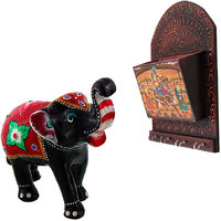 Gomati Ethnic Home Dcor Paper Mache Elephant Showpiece Handicraft Gifts With Dhola Maru Painted 4 Key Magazine Holder Gift Handicraft-COMB378