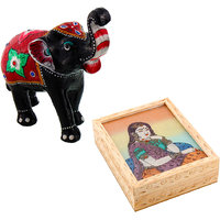 Gomati Ethnic Home Dcor Paper Mache Elephant Showpiece Handicraft Gifts With Gemstone Painting Jewelry Box Handicraft Gift-COMB381
