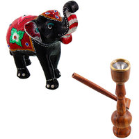 Gomati Ethnic Home Dcor Paper Mache Elephant Showpiece Handicraft Gifts With Wooden Brown Real Working Hukka Handicraft-COMB383