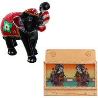 Gomati Ethnic Home Dcor Paper Mache Elephant Showpiece Handicraft Gifts With Gemstone Painting 6 Keys Letter Holder Handicraft-COMB384