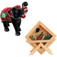 Gomati Ethnic Home Dcor Paper Mache Elephant Showpiece Handicraft Gifts With Gemstone Painting Tea Coaster Set Handicraft Gift-COMB385