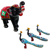 Gomati Ethnic Home Dcor Paper Mache Elephant Showpiece Handicraft Gifts With Lac Work Paper Mache Peacock Set Gift Handicraft-COMB386